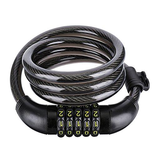 OUTERDO 5-stellige Kombination Fahrrad Kabelschloss Mit Montagehalterung Rücksetzbar Selbstwicklung Radfahren Sicherheit Fahrradschlösser, 12x1200mm