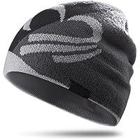 topnaca Unisex térmico tapas de calavera casco liner tapas de ciclismo Running gorro, cubre orejas transpirable la humedad, para snowboard senderismo escalada motociclismo fútbol actividades al aire libre, Black&Gray