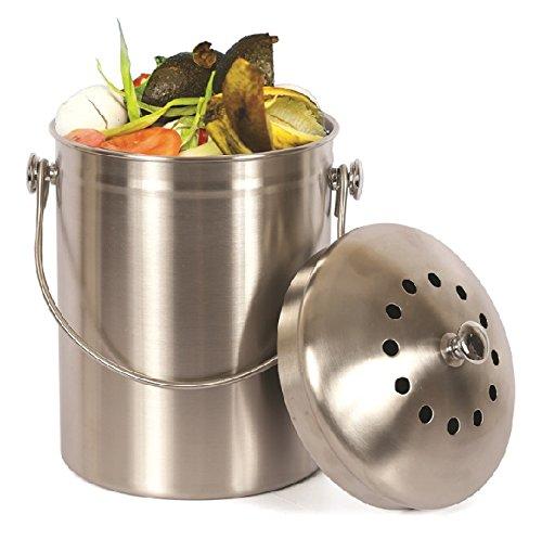Estilo Edelstahl Kompost, die Sie, 1Liter Komposter, 2gratis Stoßdämpfender Filter enthalten