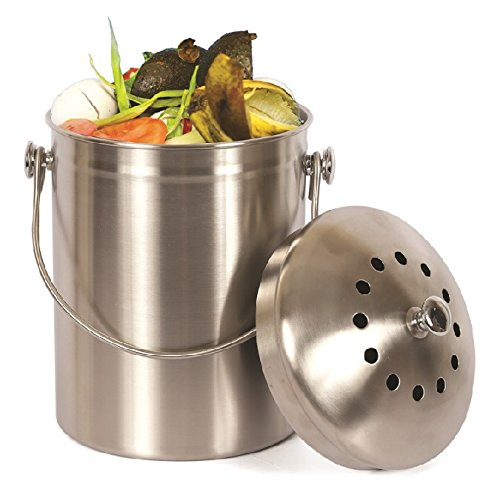 Estilo Stainless Steel Compost Pail, 1 Gallon Compost Bin, 2 Free Odor...