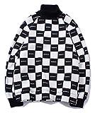 PIZOFF Unisex Hip-Hop Druckmuster Kapuzenpullover - tifer Schalternaht Raglan-Shirt mit Kapuze Kariert Schwarz und Weiß Y1899-03-S