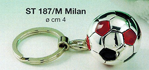Portachiavi pallone squadra calcio milan d cm4 laminato argento made in italy