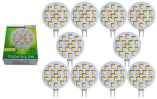 Trango 10er Pack LED Leuchtmittel mit G4 Fassung zum Austausch vom G4, MR16, GU5.3 Halogen Leuchtmittel TGG415-2.5W - 12V AC/DC - 2.5 Watt 250 Lumen mit 3000K Power SMDs warmweiß Lampensockel Lampen -