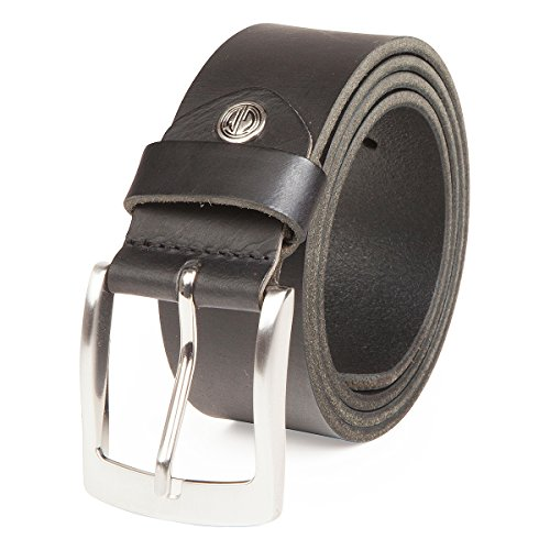 LINDENMANN Ledergürtel Herren/Gürtel Herren, Vollrindleder, Büffelleder 4 mm, schwarz, Größe/Size:95, Farbe/Color:schwarz