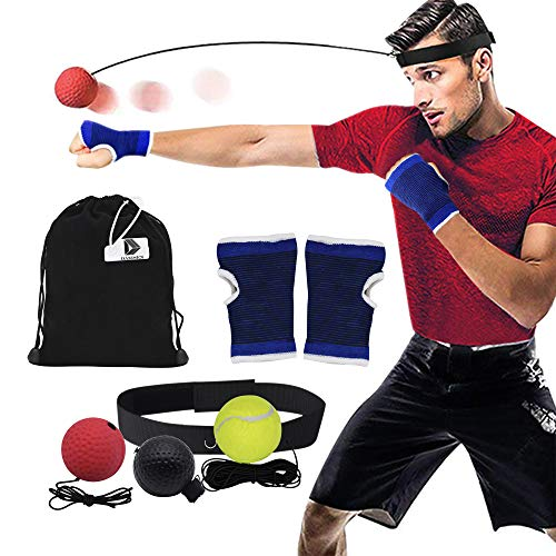 ng Ball - Reflex Fightball Anzug Speed Fitness Punch Boxing Ball mit Kopfband Trainingsgerät Speedball für Zuhause und Outdoor, 7 Stück Anzug ()