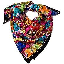 Foulard carré 100% soie roulotté 90   90 motif chats multicolors ... 18d73cbe904