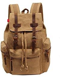 Ocamo Men Fashionable Canvas Double Shoulder Backpack Computer Bag Large Capacity Travel Casual Bag