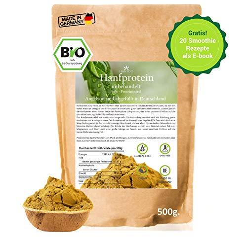 BIO Hanfprotein aus DE 500g, Vegan Protein, DE-Öko-070 + Gratis Smoothie Rezeptbuch, Protein aus Hanfsamen, Low Carb