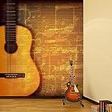 azutura Gitarren- & Musikblatt Wandbild Vintage Musik Foto-Tapete Schlafzimmer Haus Dekor Erhältlich in 8 Größen Riesig Digital