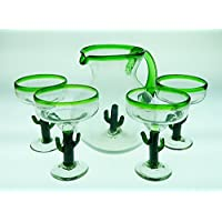 Mexican Glass Margarita Saguaro Cactus Green Rim with Matching Pitcher