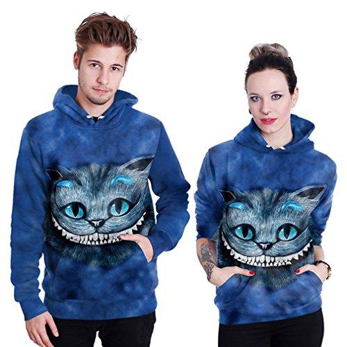 Belsen unisex Kapuzenpullover Sweatshirts Liebhaber Valentine Set Grimacing cat