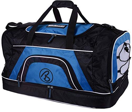 Brubaker Base Media Borsa Sportiva 52 L con Ampio Scomparto sul Fondo per Gli Indumenti umidi + vano Scarpe - Blu