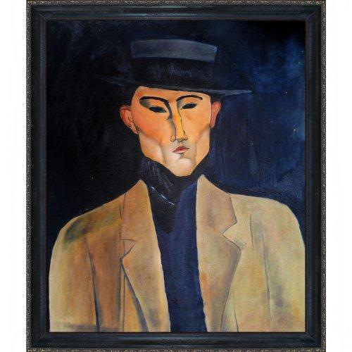 overstockArt ein Mann mit Hut Jose Pacheco gerahmt mit Reproduktion eines mit Bild von Amedeo Modigliani, La Scala, Schwarz, Gold-Finish - Amedeo Modigliani Gerahmte Leinwand
