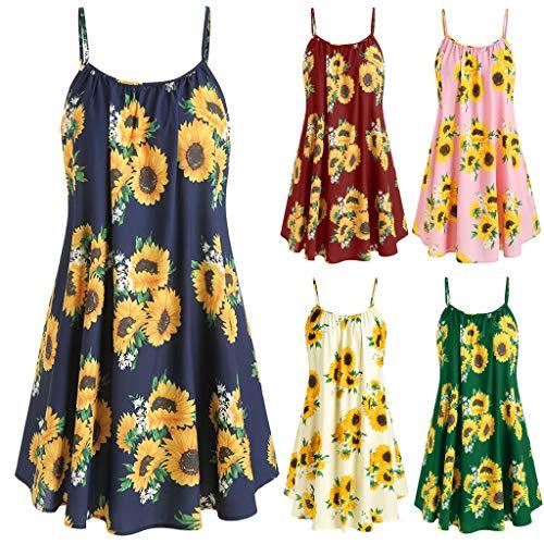 VJGOAL Damen Sling Kleider Sommer Sexy Ärmellos Sonnenblume Drucken Dip Dresses for ()