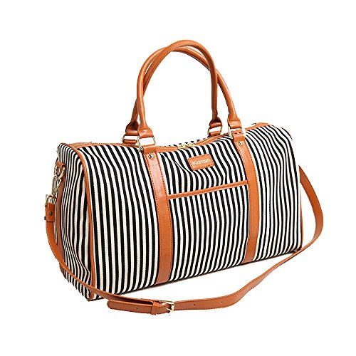 d364188765 Canvas Leather Holdall Vahome® Duffles Travel Carry On Bags Stripe Weekend  Totes Bag Handbags Cross Body Shoulder Bags for Women (Black Stripe)