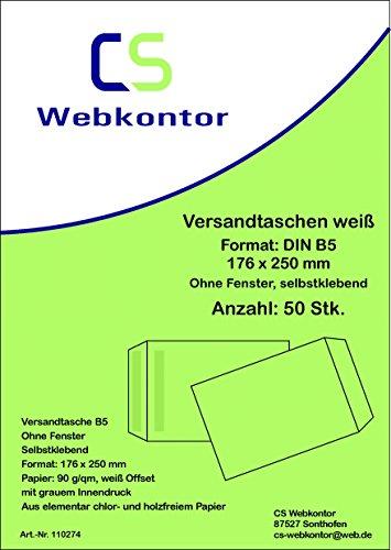 50unidades. Sobres de Envío B5(176x 250mm) Compensar, Blanco, Sin ventanas, autocierre,