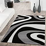 –Alfombra pelo corto Modern Mallorca con ondas patrón gris negro Crema, 200 x 290 cm