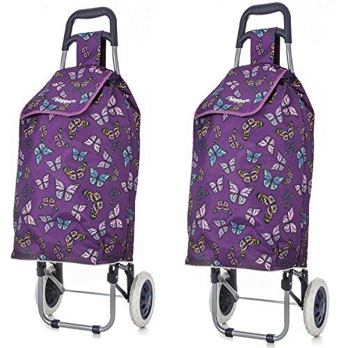 Set von 2 Hoppa Einkaufswagen Einkaufstrolley Einkaufsroller 47L (lila Schmetterlinge