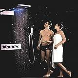 Gowe Bad Regen Dusche Set 55,9cm 3Funktion LED Farbe Dusche Head Badezimmer Zubehör Thermostat Hohe Durchflussmenge Water Mischbatterie Wasserhahn Set