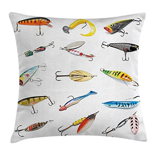 Fishing Decor Throw Pillow Cushion Cover, Several Fish Hook Equipment Objects Trolling Angling Netting Gathering Activity, Decorative Square Accent Pillow Case, 18 X 18 Inches, Multi (Decorative Fish Netting)