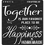 """thecraftshop CrafTreat Happy Together Reusable Painting Template Stencil for Art and Craft, Mixed Media, Wall Fabric Paintings, Home Decor, DIY Albums, Card Making (6""""X6"""")"""