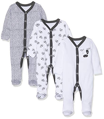Mothercare Unisex Baby Black and White Cow Sleepsuits - 3 Pack Formender Body, Mehrfarbig 347, 80 cm/9-12 Monate Black Baby-body