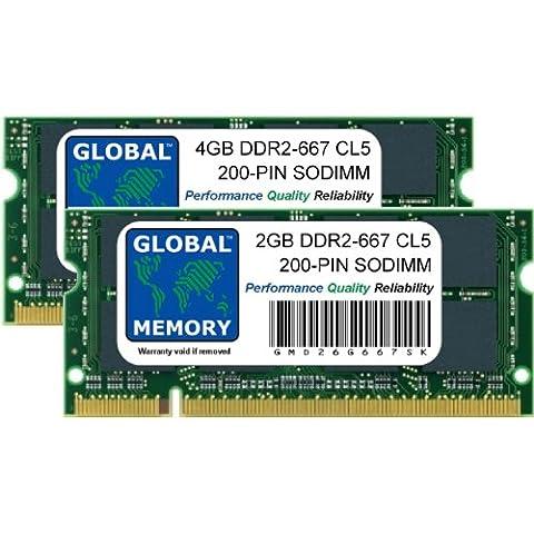 6GB (4GB + 2GB) DDR2 667MHz PC2-5300 200-PIN SODIMM MEMORIA RAM KIT PARA MACBOOK (FINALES DE 2007 - PRINCIPIOS DE/FINALES DE 2008 - PRINCIPIOS DE 2009) & MACBOOK PRO (MEDIADOS/FINALES DE 2007 - PRINCIPIOS DE