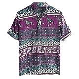 LUCKYCAT Herren T-Shirt Kurzarm Shirt Herren Hemd Kurzarm Sommer Oversize Trend Kentkragen Stylisches Männer Hawaiihemd Stretch Kurzarmhemd Jungen Basic Shirt Freizeit Urlaub Sommerhemd Beach Strand