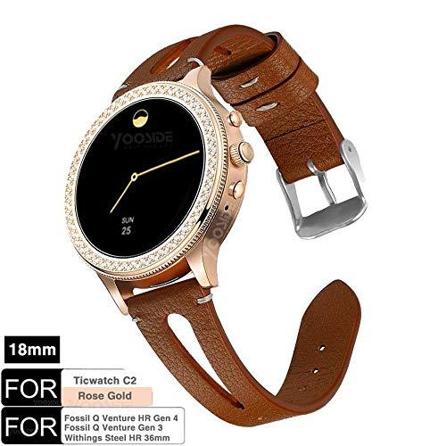 YOOSIDE für Fossil Q Venture Leder Armband,18mm Quick Release echtes Leder mit klassischem Verschluss-Uhrenarmband für Fossil Damen Venture, Withings Steel HR 36mm (Braun) -