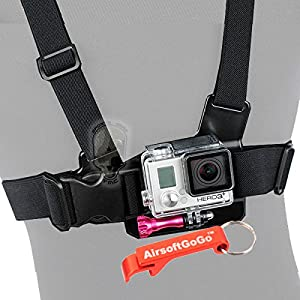 Chest Belt pour Gopro HD Hero 2 & 3 3+ Hero4 - AirsoftGoGo Porte-cl?s Inclus
