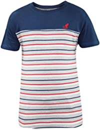 New Mens Kangol Brand Panel Yarn Dyed Stripe T-shirt Casual Fashion Top