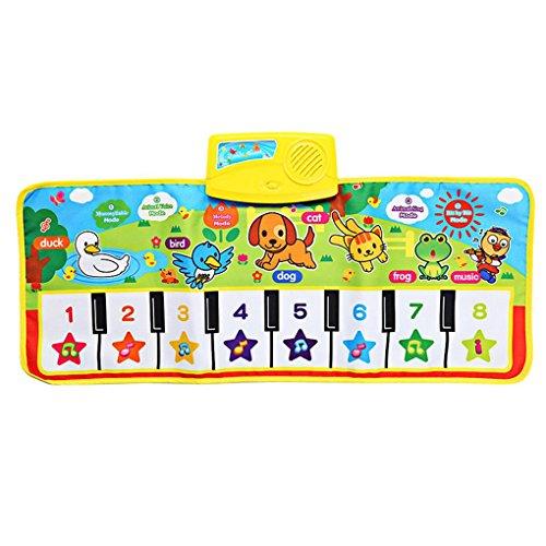 Bobury Niños Piano Mat Animal Pattern Baby Touch Play Teclado Alfombra Musical