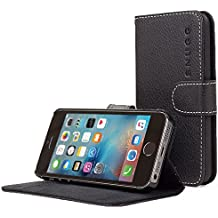 Snugg iPhone 5/5s Case, Black Leather iPhone 5/5s Flip Case [Lifetime Guarantee] Premium Wallet Phone Cover with Card Slots for Apple iPhone 5/5s
