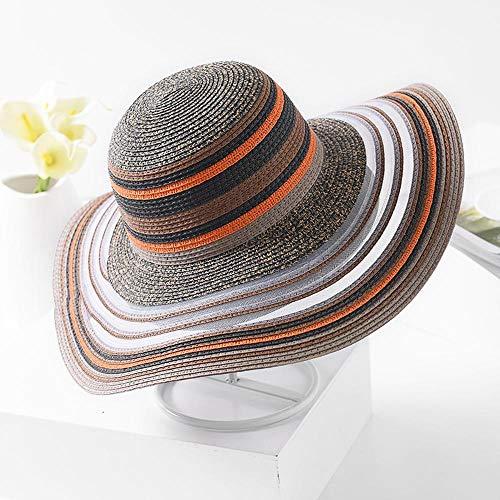 Stripe To Summer Eaves Easy Big Visor Fold Solar For Outdoor Ladies Gauze And Travel Hat Yarmy female Sun Along Hats Beach Straw Sunscreen qULzMjSpGV