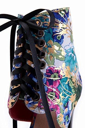 Mee Shoes Damen modern speziell adjustable-strap Peep toe Trichterabsatz Reißverschluss mit Schleife Schnürung High-top Stoffdruck Sandalen Hellblau