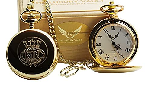 Merchant Navy Real 24 Carat Gold Coated Army Crested Pocket Watch Military Crest Luxury Gift in Case Box