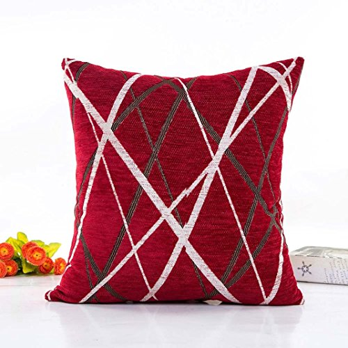 Sansee Plush Pillow Sofa Waist Throw Cushion Cover Home Decor Cushion Cover Case  Perfect for place on the sofa  coffee shop  library book store  party club  Red