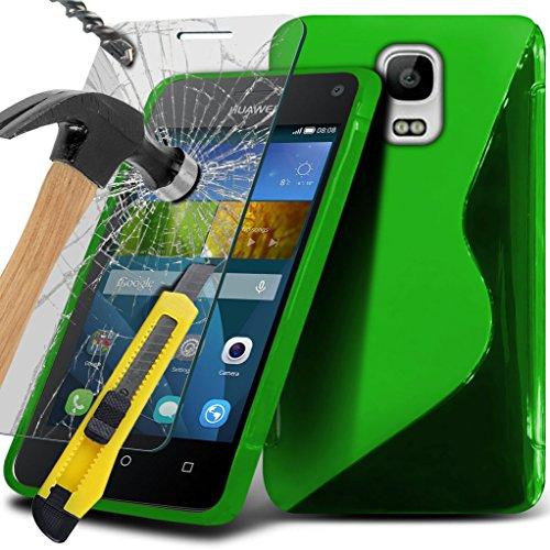 Huawei Y3 / Huawei Ascend Y3 hülle Fall (Grün + Kopfhörer) Slim-Fit-Abdeckung für Huawei Y3 / Huawei Ascend Y3 hülle Fall Haltbarer S Linie Wellen-Gel-Kasten-Haut-Abdeckung + mit Aluminium Earbud Kopf Wave Gel + glass ( Green )