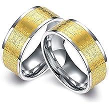 Bishilin 2 Pcs Acciaio Inossidabile Coppie Anello per Uomo Gays con Incisione Croce Bibbia Anelli di Fidanzamento Oro Argento Coppie