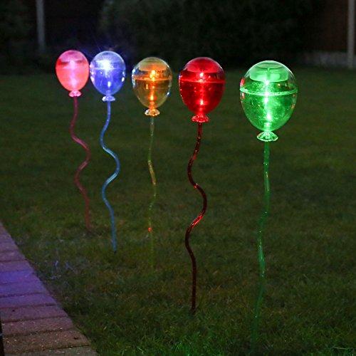 5er Pack: solarbetriebene Party Deko LED Leuchten im Luftballon Design, 60cm, mehrfarbig, von Festive Lights