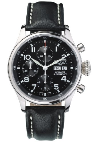 Davosa Pilot Men's Chronograph Watch 16100456 With Valjoux Automatic Movement, Day, Date Function And Large Crown.