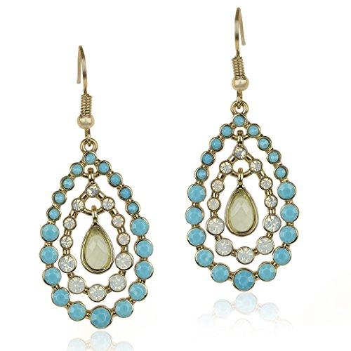 LUX Zubehör Gold Blau Weiß Opal Stein Drei Etagen Tropfenform Hängeohrringe (Opal Ohrringe Auf Clip)