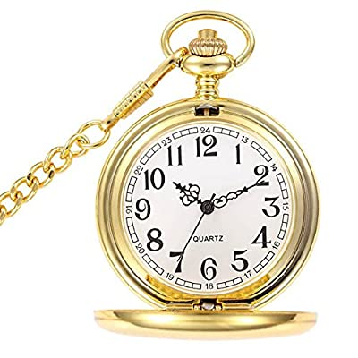 WIOR Pocket watch Retro Smooth Quartz Pocket Watch Classic Mechanical FobWatch for Men Women with Chain + Gift Box : everything 5 pounds (or less!)