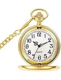 BestFire Taschenuhr Vintage Smooth Quartz Taschenuhr Klassische Taschenuhr mit kurzer Kette für Männer Frauen - Geschenkbox für Geburtstag Jahrestag Tag Weihnachten Vatertag (Gold)