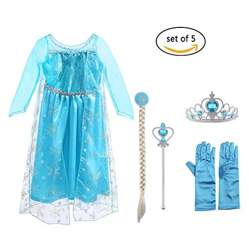 Vicloon Ice Queen Prinzessin Kostüm Kinder Deluxe Fancy Blaues Kleid,Accessoires und Schuhe für Mädchen, Weihnachten Verkleidung Karneval Party Halloween Fest (Kleidung Disney Weihnachten)