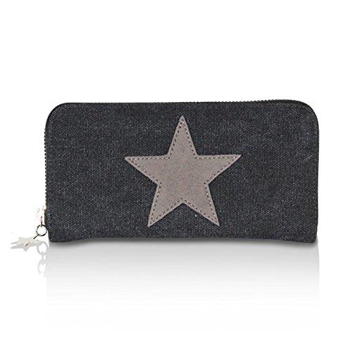 Glamexx24 Geldbörse mit Stern Muster, Portemonnaie Vintage Design Brieftasche Geldbeutel, Schwarz,