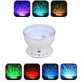 SXWYZ Projektor-Lampe, 12 LED-Fernbedienung Undersea Ozean-Wellen-Projektor, 7 Farbwechsel Musik-Player-Nachtlichtprojektor für Kinder Erwachsene Schlafzimmer-Dekoration