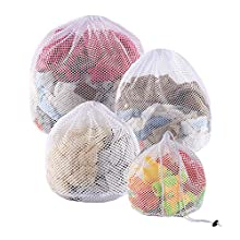 Yoassi 4 Sizes Drawstring Laundry Bags for Washing Machine, Upgrade Three Layer Mesh Laundry Net Washing Bags for Travel, Delicates, Baby Cloths, Net Mesh Bags for Laundry, Toy Storage
