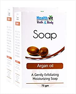 Healthvit Bath and Body Argan Oil of Morocco Soap, 75g (Pack of 2)
