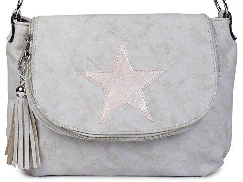 styleBREAKER Umhängetasche mit Stern und Quaste im Vintage Look, Schultertasche, Handtasche, Damen 02012074, Farbe:Beige Hellgrau